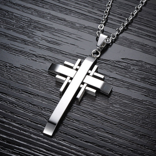 Stainless Steel Pendant Male Cross Necklace