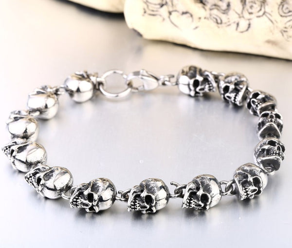 Stainless Steel Badass Skull Men Bracelet