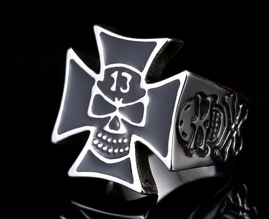 Awesome Iron Cross 13 Lucky Skull Ring