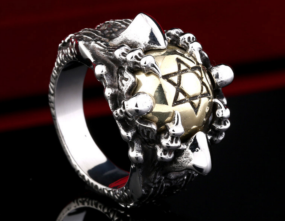 Brand New FREE Badass Man's Stainless Steel & Copper Hexagram Ring