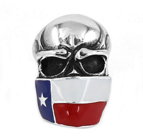 Badass TEXAS Flag Infidel Skull Ring