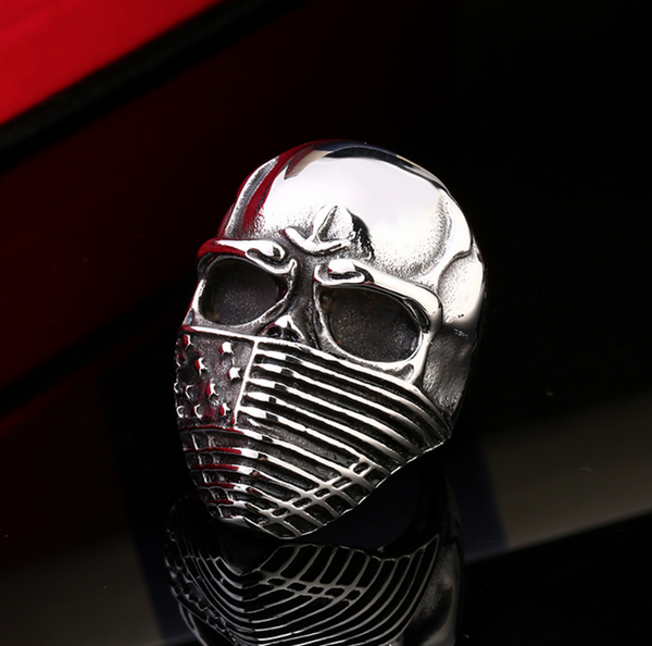 New FREE Badass US Flag Skull Ring