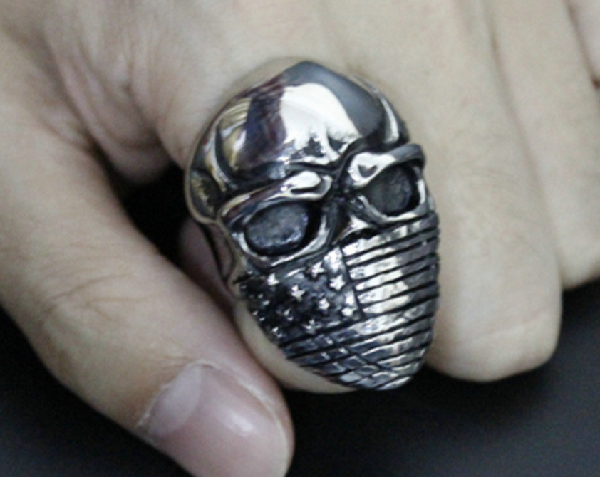 Fully Silver Badass US Flag Skull Ring