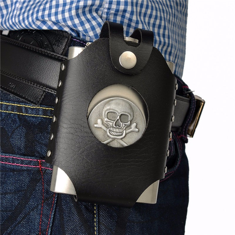 Vintage Stainless Steel Skull Flask + Leather Case