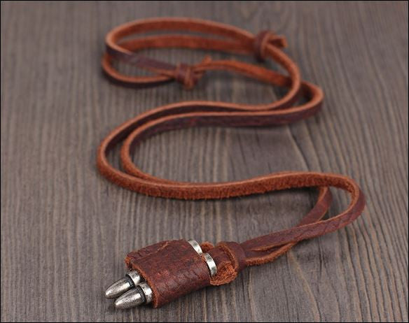 HOT SALE - Fashion Brown Leather Bullet Necklace for Man