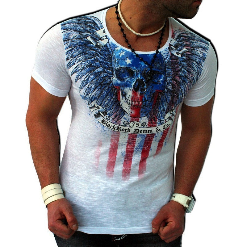 Brand New FREE US Flag & Skull T-shirt