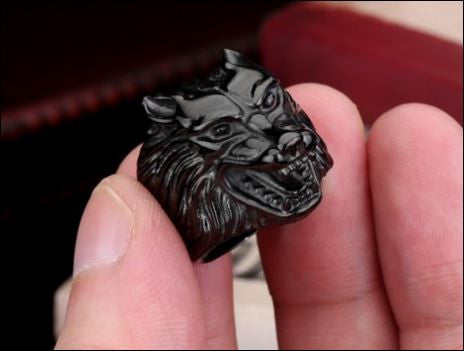 Black Stainless Steel Wolf Ring