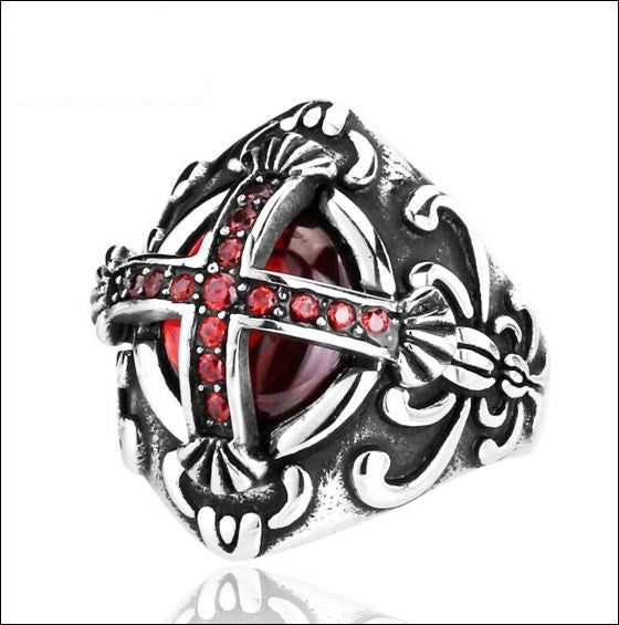 Big Cross Red/Black Ring