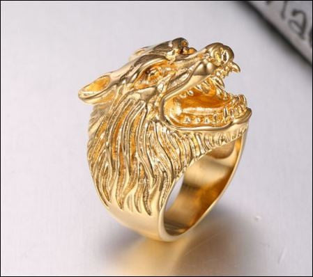 Gold Stainless Steel Wolf Ring