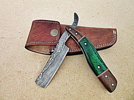 Awesome Handmade Damascus Steel Straight Razor