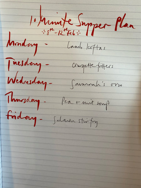 Subscribe to a weekly email containing a menu plan & shopping list for 10 minute suppers