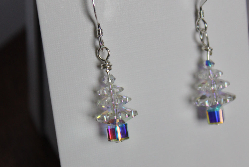 Hand-made Christmas Tree Earrings - Iridescent Crystal