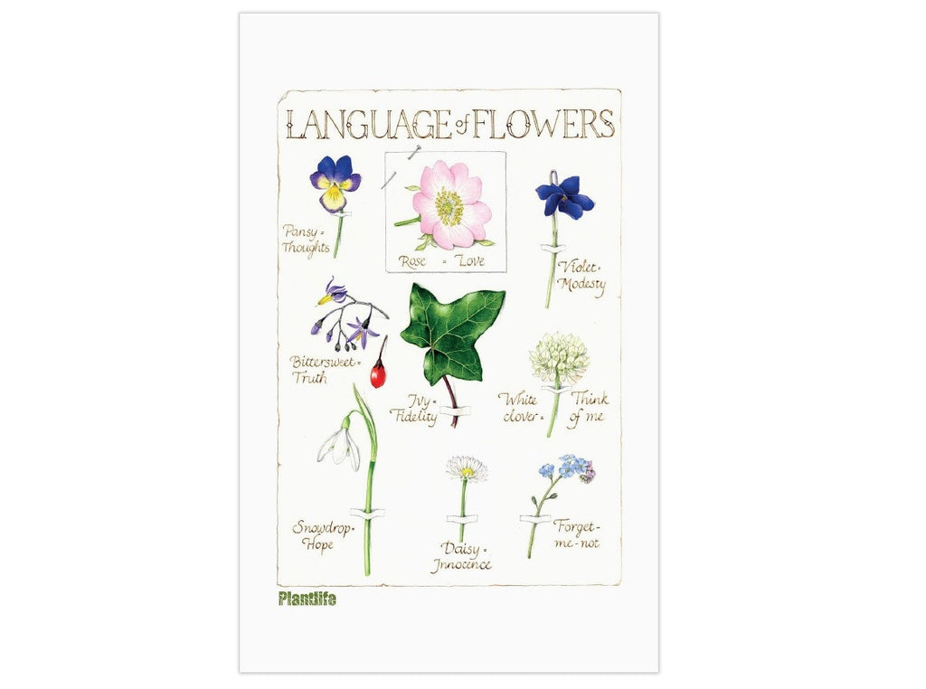 Language of Flowers tea towel