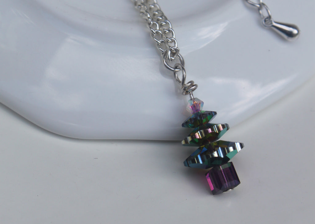 Hand-made Christmas Tree Necklace - Vitrail