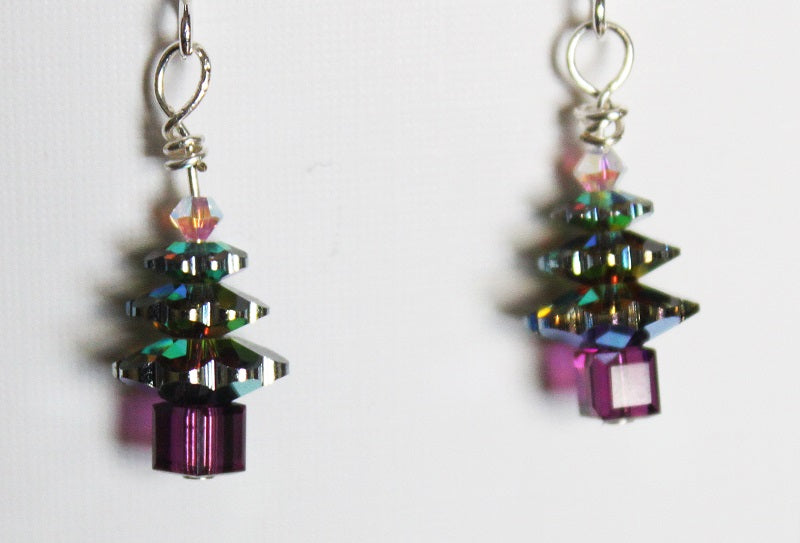 Handmade Christmas Tree Earrings - Vitrail
