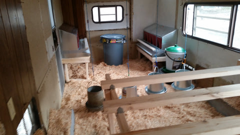 Mobile chicken trailer with rollaway nest boxes