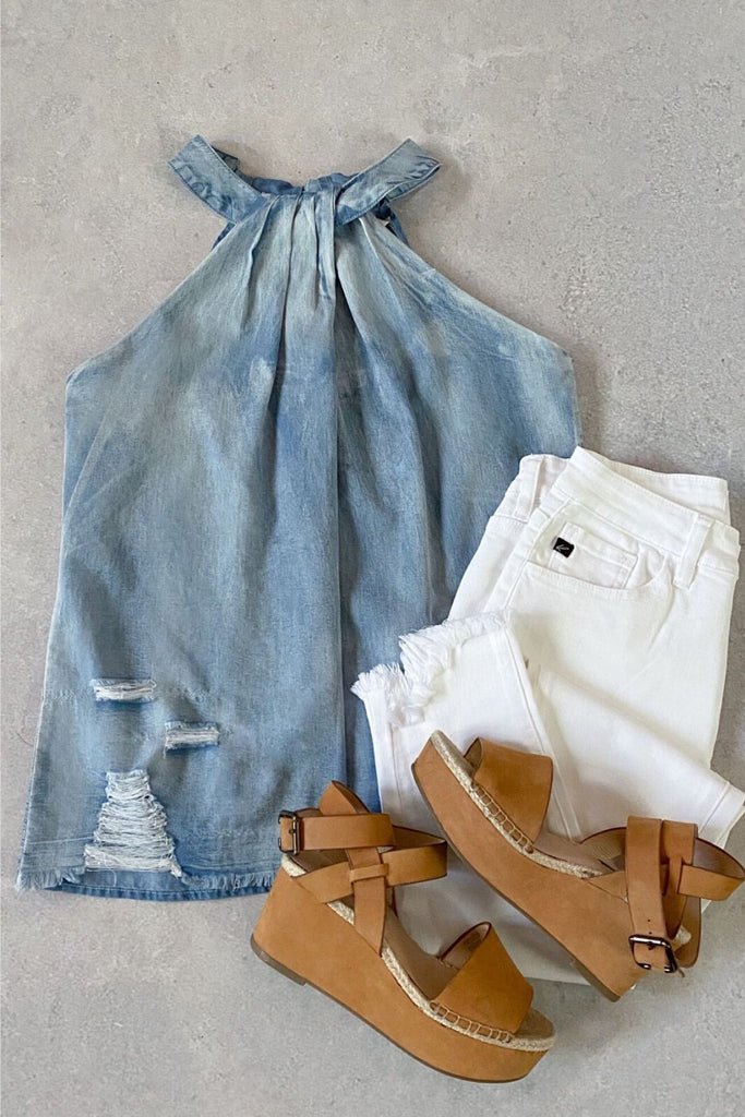 FINAL RESTOCK - Darcy Distressed Chambray Halter