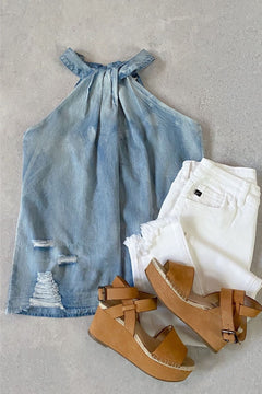 Darcy Distressed Chambray Halter