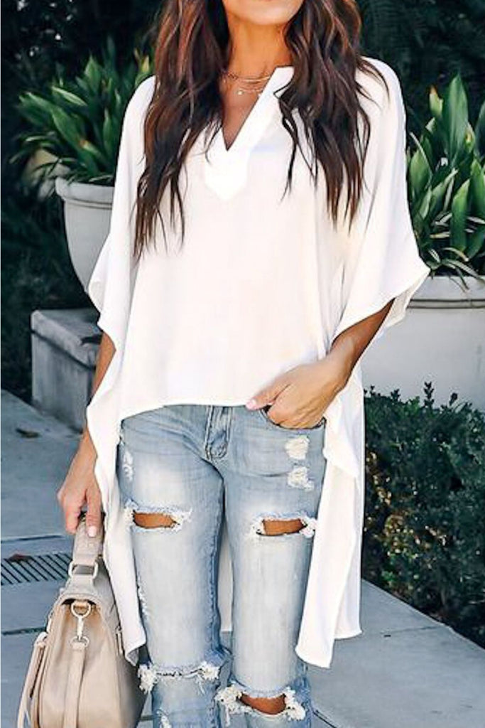 Melody High Low V-Neck Top - 2 Colors