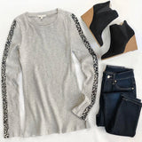 Expedition Leopard Sleeve Ribbed Grey Top