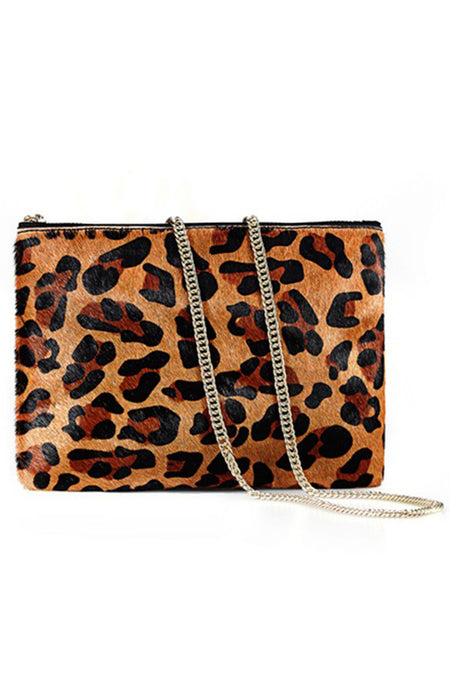 Serafina Leopard Print Pony Hair Purse