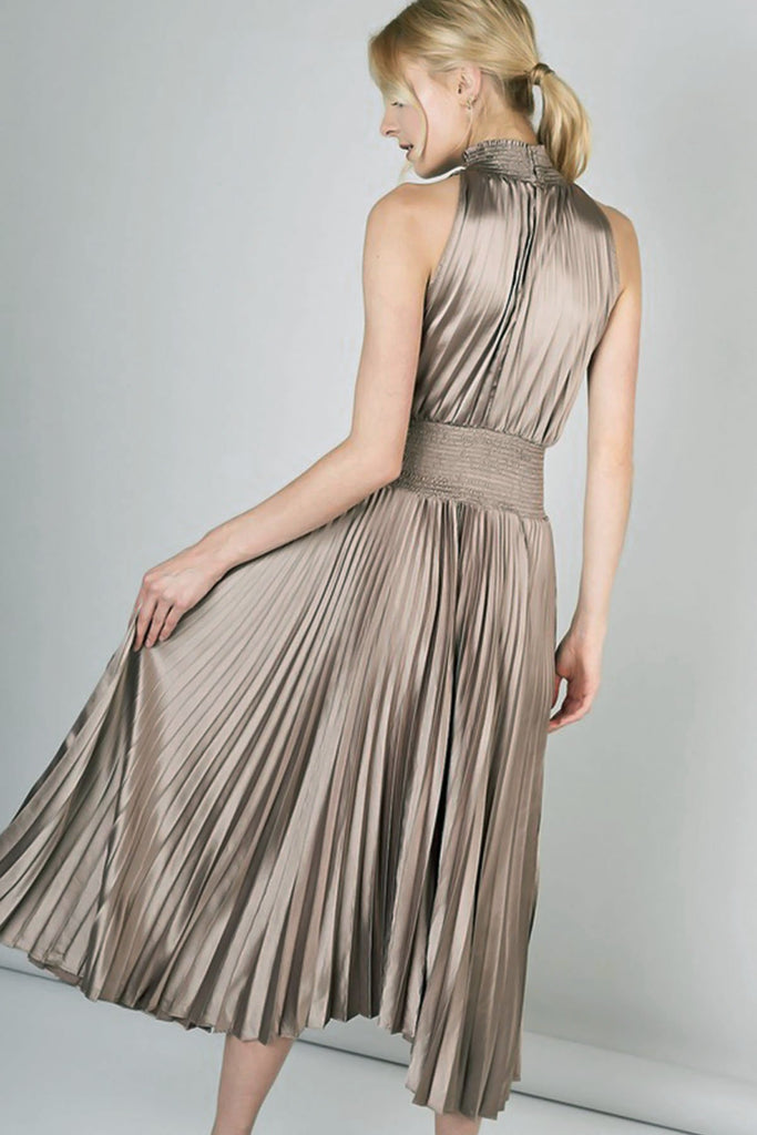 Marilyn Pleated Smocked Taupe Dress