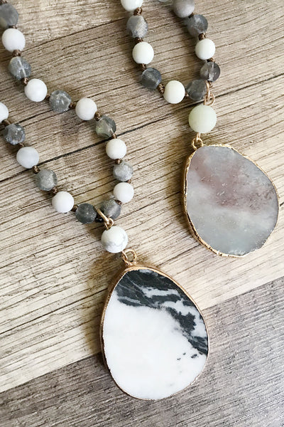Natural Stone Pendant Necklace - TWO COLORS