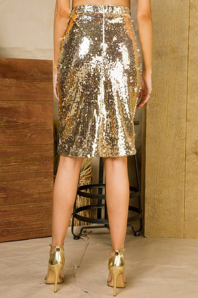 Night Moves Gold Sequin Skirt