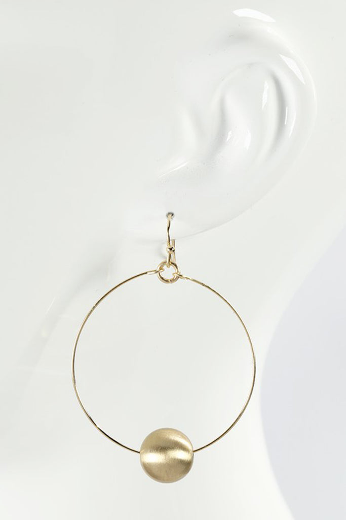 Ball Charm Circle Gold Earrings