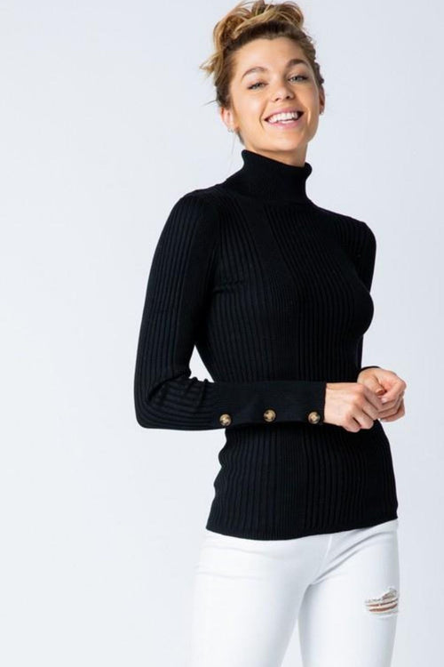 Beau Monde Button Sleeve Ribbed Black Turtleneck