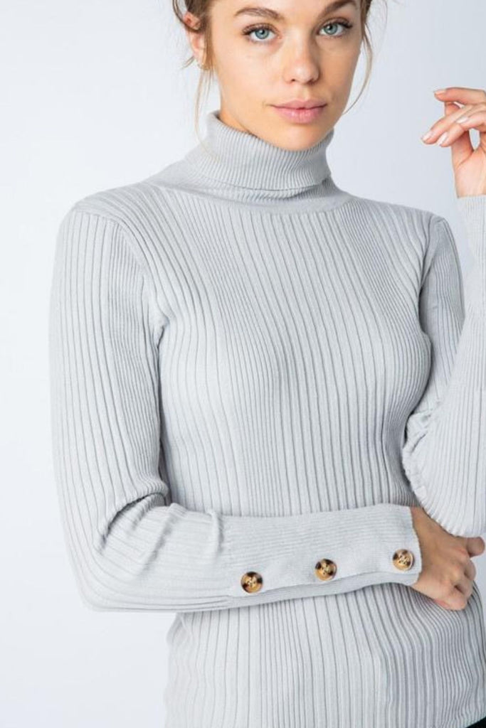Beau Monde Button Sleeve Ribbed Grey Turtleneck