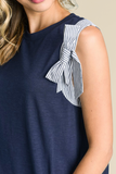 Carrigan Stripe Bow Detail Navy Top