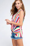 Kelsey Twist Front Stripe Top