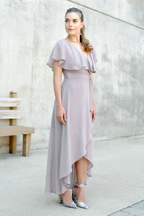 Caught Your Eye Taupe Wrap Dress
