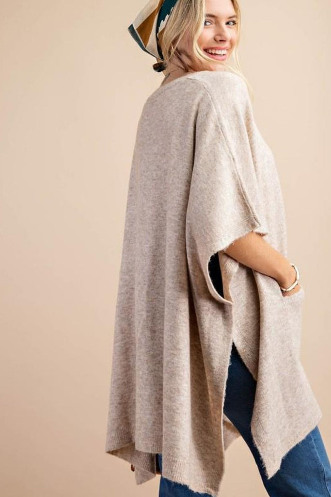 Chrisley Taupe Poncho Sweater