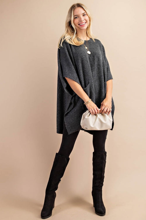 Chrisley Charcoal Poncho Sweater