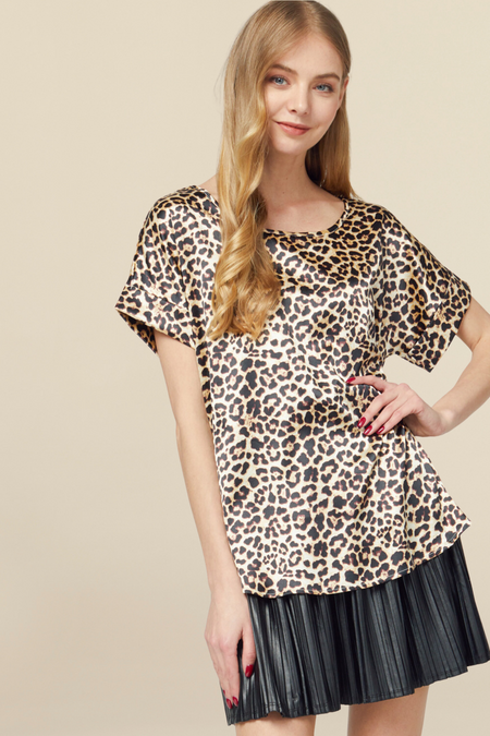 Here To Slay Puff Sleeve Leopard Top