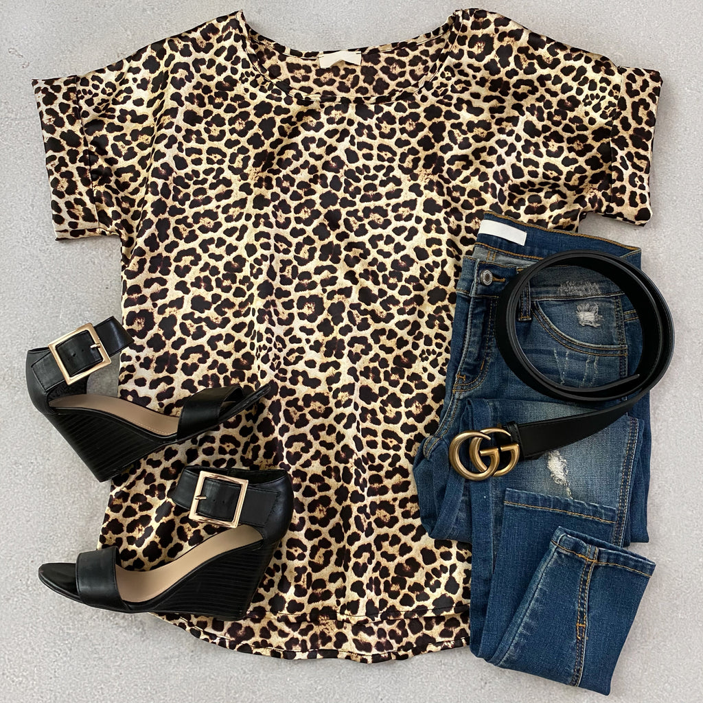 Crosby Satin Leopard Print Top