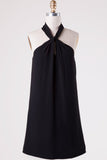 Emerson Twist Detail Black Halter Dress
