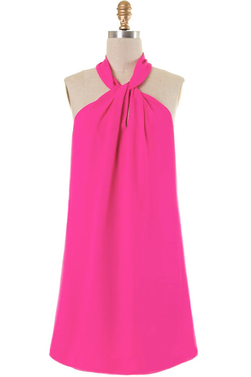 Emerson Twist Detail Fuchsia Halter Dress