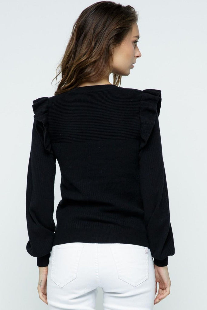 Everly Ruffle Puff Sleeve Ribbed Black Sweater