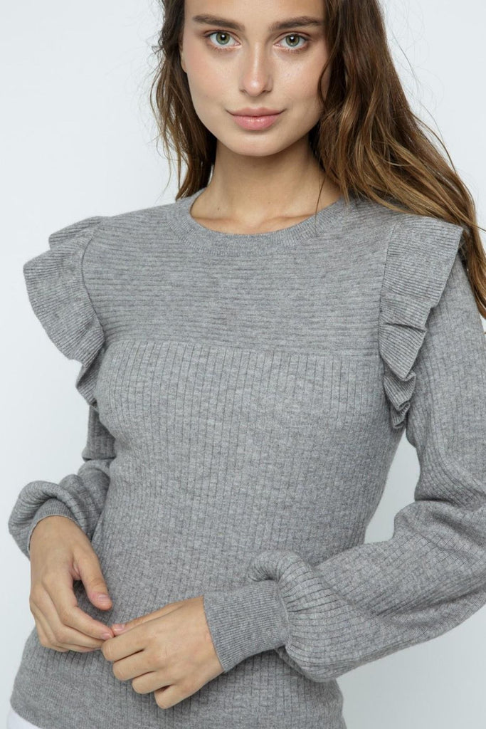 Everly Ruffle Puff Sleeve Ribbed Grey Sweater