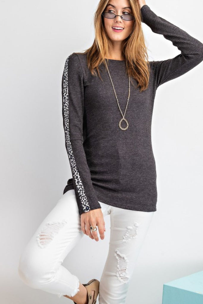 Expedition Leopard Sleeve Ribbed Charcoal Top
