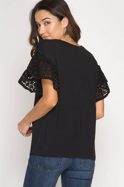 Love Is Eyelet Sleeve Black Top