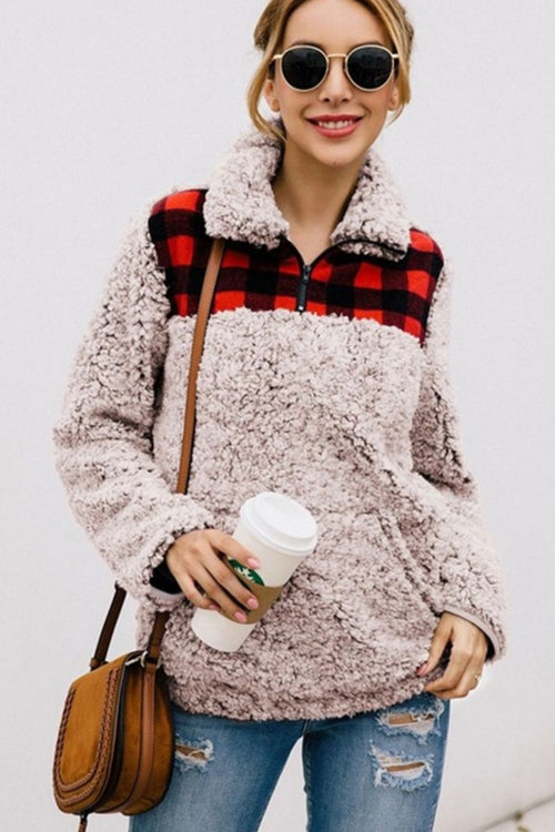 Festive Feels Red Plaid Sherpa Pullover