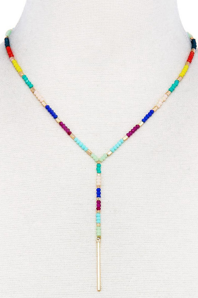 Flamenco Multicolored Lariat Drop Necklace