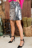 Flashy Favorite Silver Sequin Mini Skirt