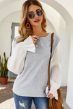 Fraylee Contrast Sleeve Grey Top