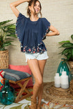 Monarch Flutter Sleeve Floral Embroidered Navy Top