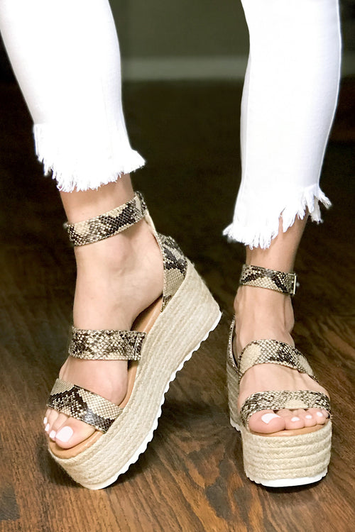 Get Around Snake Espadrille Platform Wedge